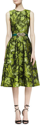 Oscar de la Renta Sleeveless Darted Brocade Dress