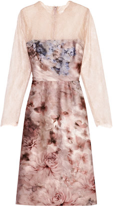 Valentino Floral-Print Silk Mikado Lace-Sleeved Dress