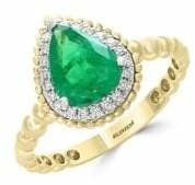 Effy Brasilica 14K White and Yellow Gold Natural Emerald 0.11 TCW Diamond Ring
