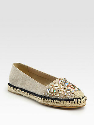 Brian Atwood Hardesty Jeweled Canvas Espadrilles