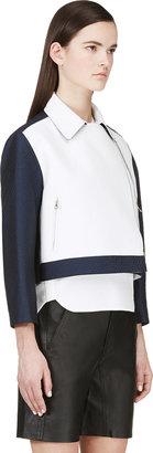 3.1 Phillip Lim Navy Leather-Paneled Boxy Jacket