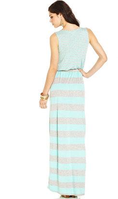 Pink Rose Juniors Dress, Sleeveless Striped Maxi