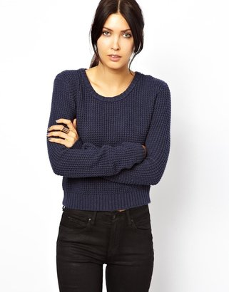 Dr. Denim Waffle Knitted Sweater - Black