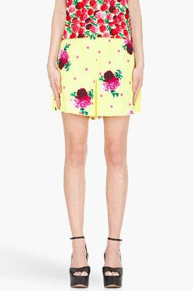 Marc Jacobs lemon yellow carnation tap Shorts