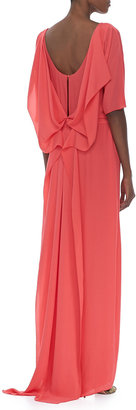 Halston Elbow Sleeve Boat Neck Gown