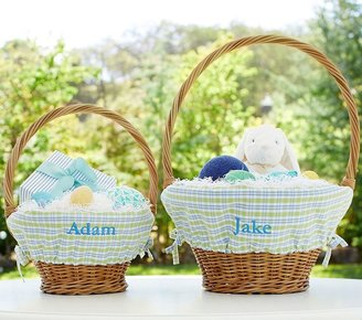 Pottery Barn Kids Blue/Green Plaid Easter Basket Liners
