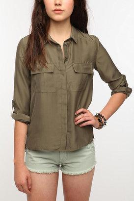 Silence & Noise Silence + Noise Silky Button-Down Popover Shirt