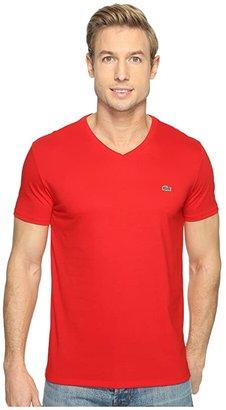 Lacoste Short Sleeve Pima Jersey V-Neck T-Shirt (Red) Men's Short Sleeve Pullover