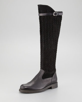 Henry Beguelin Flat Stretch-Suede Boot