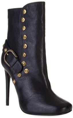 Roberto Cavalli Black leather stud mid calf boot