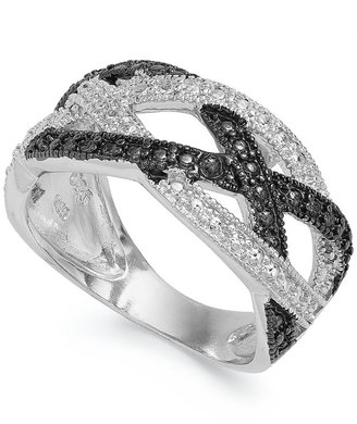 Victoria Townsend Sterling Silver Black (1/4 ct. t.w.) and White Diamond Accent Crisscross Ring