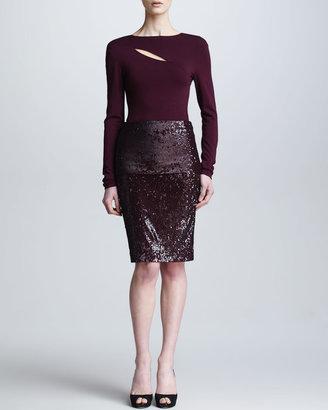 Donna Karan Fold-Over Pull-On Sequin Skirt, Claret
