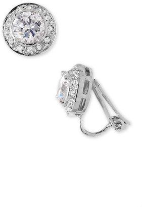 Nadri Pavé Crystal Bezel Clip Earrings