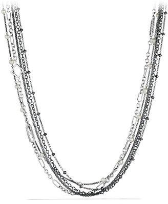 David Yurman Multi-Row Chain Necklace with Pearls