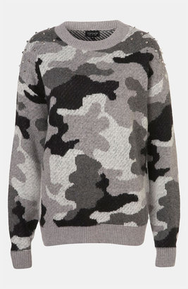 Topshop Studded Camouflage Sweater