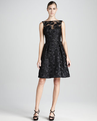 Theia Sequined Lace Cocktail Dress