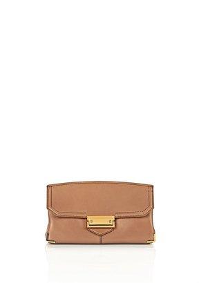 Alexander Wang Prisma Skeletal Clutch In Latte With Yellow Gold