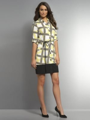 New York & Co. Printed Matte Jersey Belted Shirtdress with Solid Trim