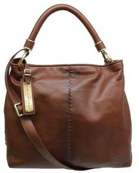 "Plinio Visona 12562"" Brown Leather Shoulder Bag"