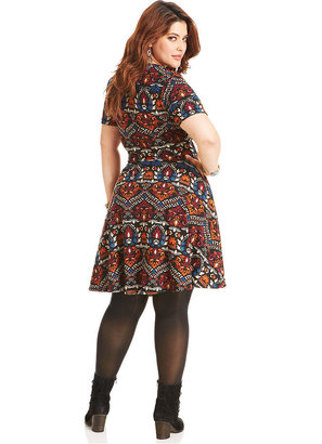 American Rag Plus Size Dress, Short-Sleeve Printed A-Line