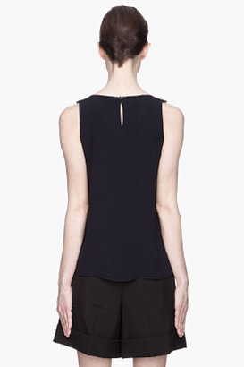 Vanessa Bruno Navy lace-trimmed tank top.