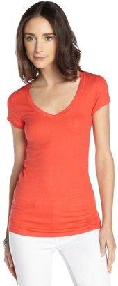 BCBGMAXAZRIA bright poppy stretch rib knit v-neck t-shirt