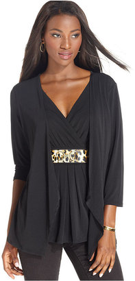 Style&Co. Top, Three-Quarter-Sleeve Belted Layered Look