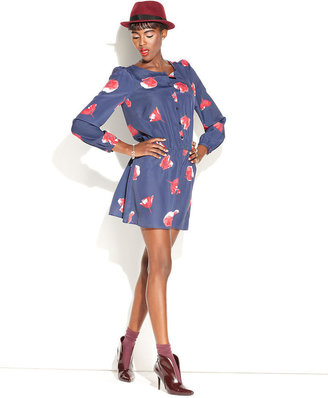 Made Fashion Week for Impulse Dress, Long-Sleeve Scoop-Neck Floral-Print