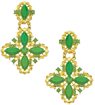 Yochi Gold and Green Crystal Statement Earrings