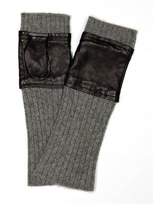 Carolina Amato Knit/Leather Fingerless Glove