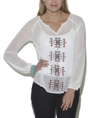Wet Seal Long Sleeve Embroidered Peasant Top