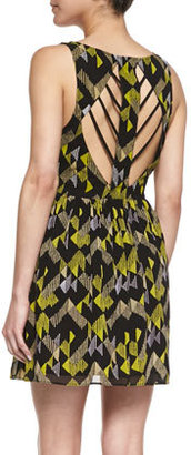 French Connection Printed Strappy-Cutout Party Dress
