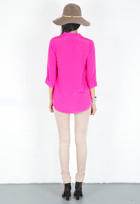 Rory Beca Decker Collared Tunic with Ties in Flamingo
