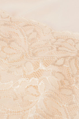 Topshop Lace Panel Chiffon Crop Top