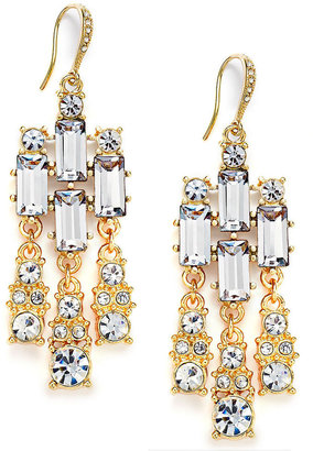 Charter Club Gold-Tone Crystal Baguette Stone Chandelier Earrings