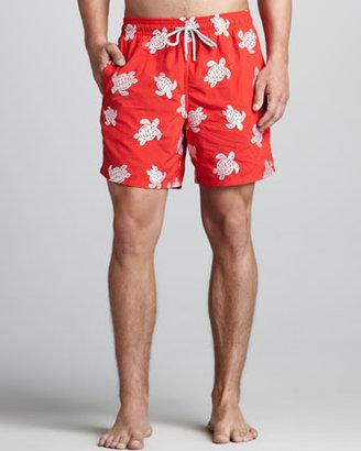 Vilebrequin VIP Line Embroidered Swim Trunks, Red