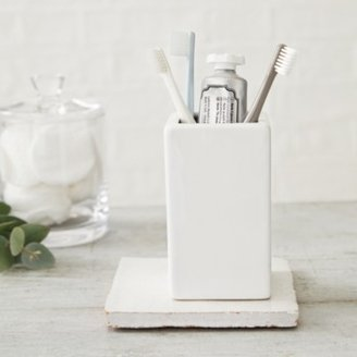 The White Company Newcombe Ceramic Toothbrush Holder, White, One Size
