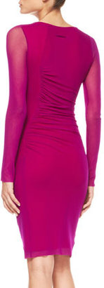 Jean Paul Gaultier Long-Sleeve Ruch-Waist Tulle Dress