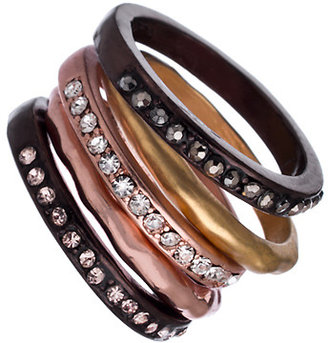 Blu Bijoux Set of Five Gold Gunmetal and Rose Gold Crystal Stacking Rings