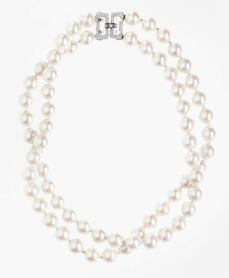 Two-Row 12mm Glass Pearl Nested Necklace $398 thestylecure.com