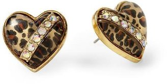 Betsey Johnson Leopard Heart Stud Earring