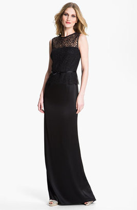 St. John Liquid Satin & Lace Gown