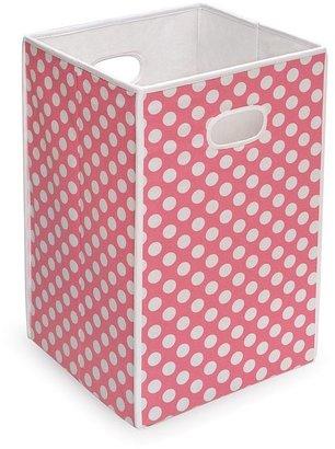 Badger Basket folding hamper storage bin - pink