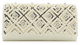Kate Landry Pearl & Sequin Flap Clutch
