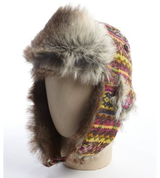 San Diego Hat Company tribal printed trapper hat with faux fur lining