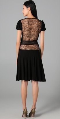 RED Valentino Puff Sleeve Dress with Lace Back