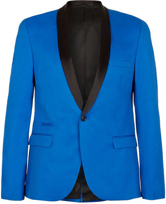 Topman Blue Skinny Tux Suit Jacket