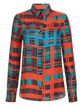 Peter Som Emerald Plaid Silk Blouse