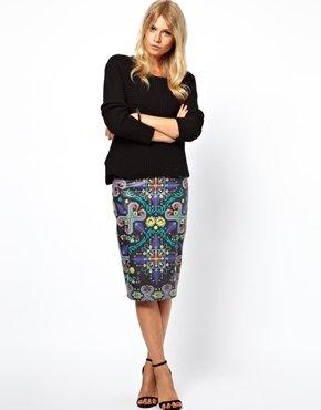 Asos Pencil Skirt in Printed PU - Black