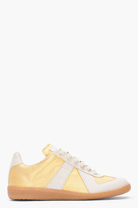 Maison Martin Margiela Gold and beige hand-finished Sneakers